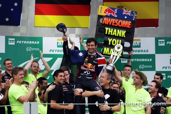 Mark Webber, Red Bull Racing celebrates his second position and final GP with the team
