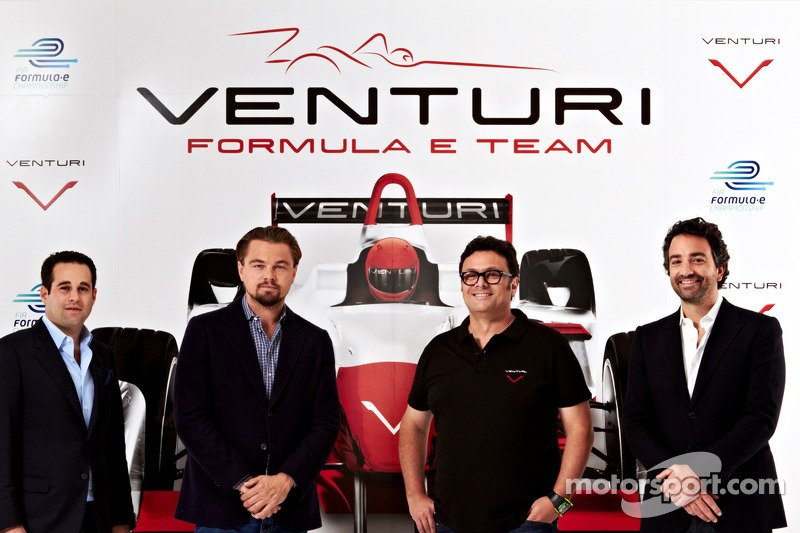 Actor Leonardo DiCaprio and owner Gildo Pastor participate in the Venturi Racing launch