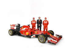 The Ferrari F14 T with drivers Fernando Alonso and Kimi Raikkonen with Stefano Domenicali
