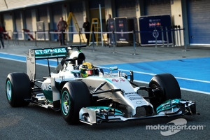 Lewis Hamilton, Mercedes AMG F1 W05 is the first to leave the pits for testing