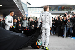 (L to R): Lewis Hamilton, Mercedes AMG F1 and team mate Nico Rosberg, Mercedes AMG F1 at the unveiling of the new Mercedes AMG F1 W05