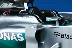 The Mercedes AMG F1 W05 with a message of support for Michael Schumacher