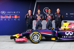 F1: (L to R): Christian Horner, Red Bull Racing Team Principal, Sebastian Vettel, Red Bull Racing, Daniel Ricciardo, Red Bull Racing, Adrian Newey, Red Bull Racing Chief Technical Officer at the unveiling of the Red Bull Racing RB10