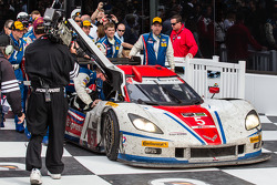 Race winner #5 Action Express Racing Corvette DP Chevrolet: Joao Barbosa, Christian Fittipaldi, Sébastien Bourdais enters victory lane