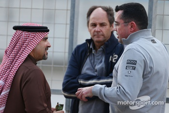 (L to R):HRH Prince Salman bin Hamad Al Khalifa, Crown Prince of Bahrain, with Gerhard Berger, and Eric Boullier, McLaren Racing Director