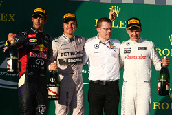 1st place Nico Rosberg, Mercedes AMG F1 W05, 2nd place Daniel Ricciardo, Red Bull Racing RB10 and 3rd place Kevin Magnussen, McLaren MP4-29