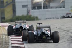 Esteban Gutierrez, Sauber C33 leads team mate Adrian Sutil, Sauber C33