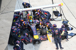 Sebastian Vettel, Red Bull Racing RB10 pit stop