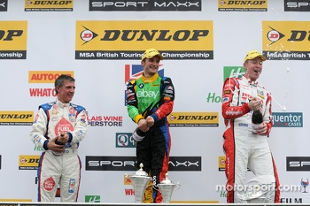 Round 3 Podium Celebrations with Colin Turkington, Matt Neal and Jason Plato