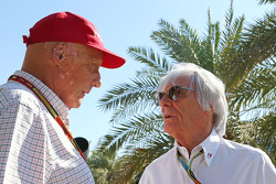 F1: (L to R): Niki Lauda, Mercedes Non-Executive Chairman with Bernie Ecclestone (GBR)