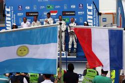 1st position Jose Maria Lopez, Citroën C-Elysee WTCC, Citroën Total WTCC, 2nd position Sébastien Loeb, Citroën C-Elysee WTCC, Citroën Total WTCC and 3rd position Yvan Muller, Citroën C-Elysee WTCC, Citroën Total WTCC with Franz Engstler, 320 TC, Liqui Mol