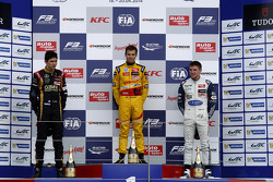 Podium: race winner Tom Blomqvist, second place Esteban Ocon, third place Jordan King