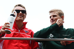 Max Chilton, Marussia F1 Team with Marcus Ericsson, Caterham on the drivers parade.