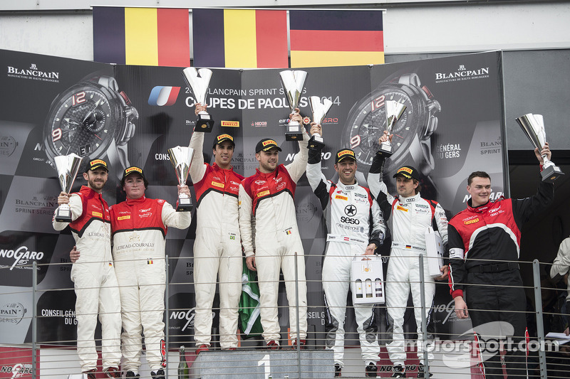 Podium: race winners Cesar Ramos, Laurens Vanthoor, second place Rene Rast, Enzo Ide, third place Niki Mayr-Melnhof, Markus Winkelhock