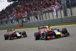 Sebastian Vettel, Red Bull Racing RB10 leads team mate Daniel Ricciardo, Red Bull Racing RB10