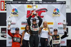 Race #2 GTS Class podium: race winner Jack Baldwin, second place Nic Jonsson, third place Lawson Aschenbach