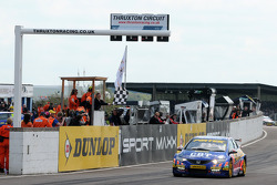 Andrew Jordan crosses the line to win round 7