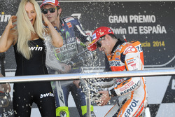 Race winner Marc Marquez, Repsol Honda Team, second place Valentino Rossi, Yamaha Factory Racing