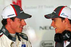 F1: (L to R): Adrian Sutil, Sauber with team mate Esteban Gutierrez, Sauber