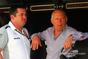 (L to R): Eric Boullier, McLaren Racing Director with Ron Dennis, McLaren Executive Chairman
