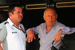F1: (L to R): Eric Boullier, McLaren Racing Director with Ron Dennis, McLaren Executive Chairman