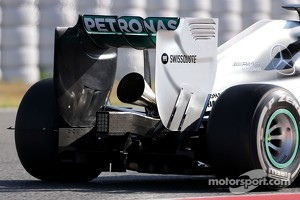 "The new ""megaphone"" exhaust on the Mercedes GP"