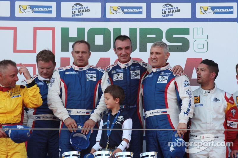 LM GTE podium: race winners Andrea Bertolini, Viktor Shaitar, Serguey Zlobin, Boris Rotenberg