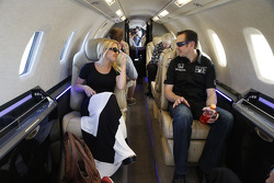 Kurt Busch and girlfriend Patricia Driscoll wait on a plane bound for Indianapolis