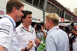 Toto Wolff, Mercedes AMG F1 Shareholder and Executive Director with Mika Hakkinen