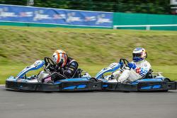Media/drivers karting race: Alex Brundle and Yannick Dalmas