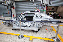 A new #91 Porsche Team Manthey Porsche 911 RSR (991) after the crash of Jörg Bergmeister on Sunday