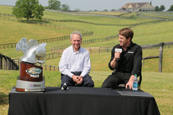 Carl Edwards visits with Steve Cauthen at Dreamfields Farm in Kentucky