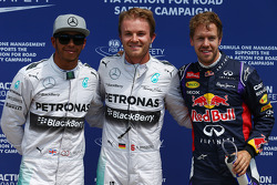 pole for Nico Rosberg, Mercedes AMG F1, 2nd for Lewis Hamilton, Mercedes AMG F1 W05 and 3rd for Sebastian Vettel, Red Bull Racing