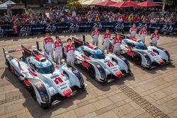 #1 Audi Sport Team Joest Audi R18 E-Tron Quattro: Lucas Di Grassi, Loic Duval, Tom Kristensen; #2 Audi Sport Team Joest Audi R18 E-Tron Quattro: Marcel Fässler, Andre Lotterer, Benoit Tréluyer; #3 Audi Sport Team Joest Audi R18 E-Tron Quattro: Filipe Albu
