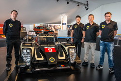 Lotus T129 LMP1 presentation: Lotus Head of operations Boris Bermes, Pierre Kaffer, Christophe Bouchut and Christijan Albers with the new Lotus T129 LMP1