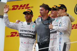 Podium finishers, Lewis Hamilton, Nico Rosberg and Valterri Bottas