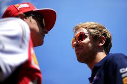 Sebastian Vettel, Red Bull Racing and Kimi Raikkonen, Scuderia Ferrari