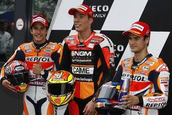 Polesitter Aleix Espargaro, second place Marc Marquez, third place Dani Pedrosa
