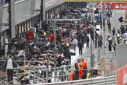 The GP2 pit lane
