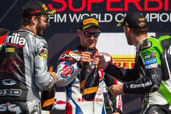 Race 2 podium: 1st place Tom Sykes, 2nd place Sylvain Guintoli, 3rd place Jonathan Rea