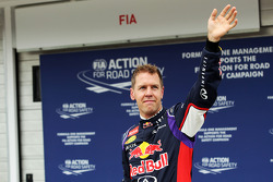 F1: Sebastian Vettel, Red Bull Racing celebrates his second position in qualifying parc ferme