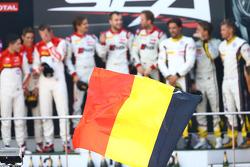 #1 Belgian Audi Club Team WRT Audi R8 LMS ultra: René Rast, Laurens Vanthoor, Markus Winkelhock, #3 Belgian Audi Club Team WRT Audi R8 LMS ultra: Christopher Mies, James Nash, Frank Stippler and #77 BMW Sports Trophy Team Marc VDS BMW Z4: Lucas Luhr, Mark