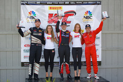 GT class winners podium: Mike Skeen (second, right), Ryan Dalziel (first, center), Anthony Lazzaro (third, right)