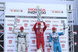 Scott Dixon, Chip Ganassi Racing Chevrolet, Sébastien Bourdais, KVSH Racing Chevrolet and James Hinchcliffe, Andretti Autosport Honda