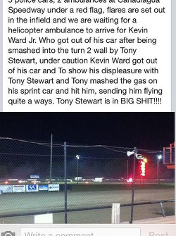 A spectator's account of the incident involving Tony Stewart and Kevin Ward Jr.