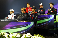 The FIA Press Conference: Jules Bianchi, Marussia F1 Team; Daniil Kvyat, Scuderia Toro Rosso; Romain Grosjean, Lotus F1 Team; Felipe Massa, Williams; Nico Rosberg, Mercedes AMG F1; Daniel Ricciardo, Red Bull Racing