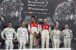 Podium: race winners Cesar Ramos, Laurens Vanthoor, second place Hari Proczyk, Jeroen Bleekemolen, third place Maximilian Götz, Nico Verdonck