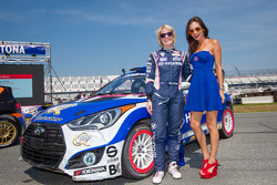 #27 Hyundai / Rhys Millen Racing Hyundai Veloster: Emma Gilmour with the Red Bull girl