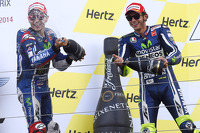 Second place Jorge Lorenzo and third place Valentino Rossi