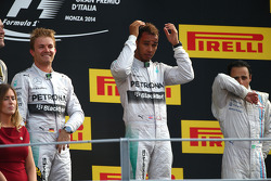 Race winner Lewis Hamilton, Mercedes AMG F1, Second place Nico Rosberg, Mercedes AMG F1 W05 and Third place Felipe Massa, Williams